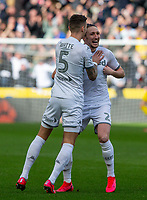 Leeds United's Luke Ayling celebrates scoring the opening goal <br /> <br /> Photographer Alex Dodd/CameraSport<br /> <br /> The EFL Sky Bet Championship - Hull City v Leeds United - Saturday 29th February 2020 - KCOM Stadium - Hull<br /> <br /> World Copyright © 2020 CameraSport. All rights reserved. 43 Linden Ave. Countesthorpe. Leicester. England. LE8 5PG - Tel: +44 (0) 116 277 4147 - admin@camerasport.com - www.camerasport.com