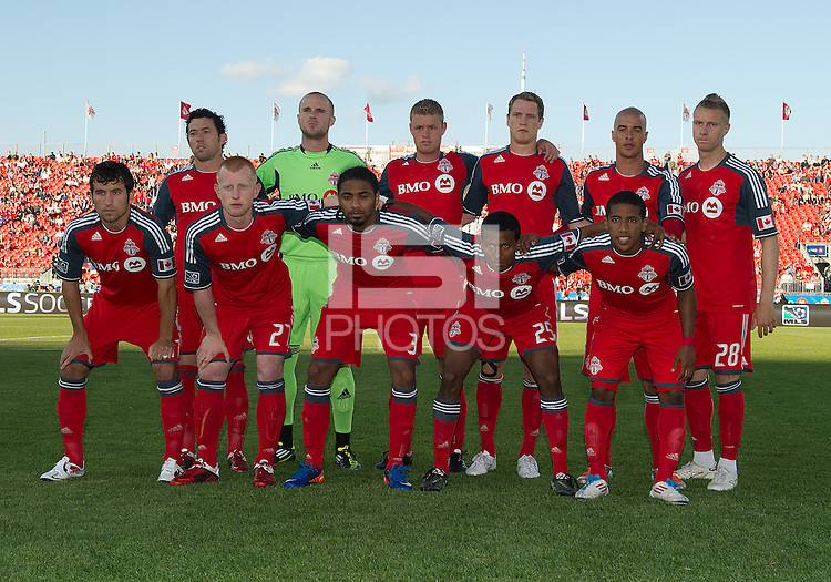 Toronto FC starting eleven during an MLS game between the Vancouver Whitecaps and the Toronto FC at BMO Field in Toronto on June 29, 2011..