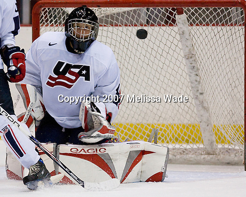 Joe Palmer (US/Ohio State - Yorkville, NY) - USA Team White defeated Team Sweden 9-2 on Friday, August 10, 2007, at the 1980 Rink at Lake Placid, New York during the Summer Hockey Challenge.