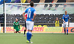 Kilmarnock v St Johnstone...19.09.15  SPFL Rugby Park, Kilmarnock<br /> Alan Mannus on his knees after Jamie McKenzie's deflected cross beat him<br /> Picture by Graeme Hart.<br /> Copyright Perthshire Picture Agency<br /> Tel: 01738 623350  Mobile: 07990 594431