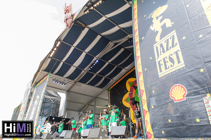 Rebirth Brass Band performs at the 2014 Jazz and Heritage Festival in New Orleans, LA.