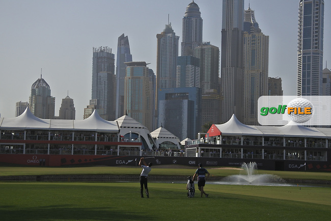 Victor Perez (FRA) on the 18th during Round 4 of the Omega Dubai Desert Classic, Emirates Golf Club, Dubai,  United Arab Emirates. 27/01/2019<br /> Picture: Golffile | Thos Caffrey<br /> <br /> <br /> All photo usage must carry mandatory copyright credit (&copy; Golffile | Thos Caffrey)