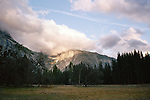 Yosemite park, meadow at sunset in USA
