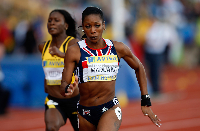 Photo: Richard Lane/Richard Lane Photography. Aviva National Championships, Incorporating the Team GB Selection Trials, Birmingham. 12/07/2008. Joice Maduaka in the women's 100m.