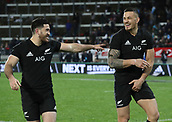 9th September 2017, Yarrow Stadium, New Plymouth. New Zealand; Supersport Rugby Championship, New Zealand versus Argentina; New Zealands Nehe Milner Skudder and New Zealands Sonny Bill Williams after the match