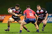 Daymon Leasuasu makes a run at Isaac Salmon during the Mitre 10 Cup rugby game between Counties Manukau Steelers and Tasman Mako, played at Navigation Homes Stadium Pukekohe on Friday September 6th 2019. Tasman won the game 36 - 0 after leading 24 - 0 at halftime.<br /> Photo by Richard Spranger.