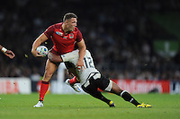 Sam Burgess of England looks for support as he is tackled by Gabiriele Lovobalavu of Fiji during Match 1 of the Rugby World Cup 2015 between England and Fiji - 18/09/2015 - Twickenham Stadium, London <br /> Mandatory Credit: Rob Munro/Stewart Communications