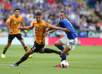 Wolverhampton Wanderers' Leander Dendoncker and Leicester City's James Maddison <br /> <br /> Photographer Stephen White/CameraSport<br /> <br /> The Premier League - Leicester City v Wolverhampton Wanderers - Sunday 11th August 2019 - King Power Stadium - Leicester<br /> <br /> World Copyright © 2019 CameraSport. All rights reserved. 43 Linden Ave. Countesthorpe. Leicester. England. LE8 5PG - Tel: +44 (0) 116 277 4147 - admin@camerasport.com - www.camerasport.com