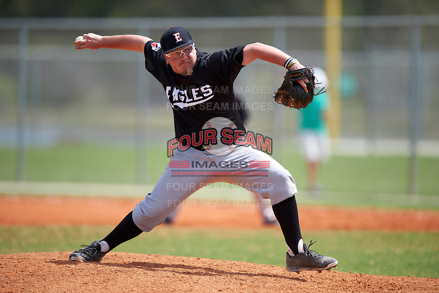 Edgewood Eagles pitcher AJ Verhage (22) during the second game of a doubleheader against the Plymouth State Panthers on April 17, 2016 at Lee County Player Development Complex in Fort Myers, Florida.  Plymouth State defeated Edgewood 16-3.  (Mike Janes/Four Seam Images)