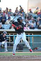 Travis Demeritte (2) of the High Desert Mavericks bats against the Lancaster JetHawks at The Hanger on April 16, 2016 in Lancaster, California. Lancaster defeated High Desert, 3-2. (Larry Goren/Four Seam Images)