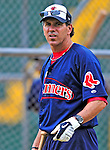 24 July 2010: Lowell Spinners Manager Bruce Crabbe prepares for his team to take drills prior to a game against the Vermont Lake Monsters at Centennial Field in Burlington, Vermont. The Spinners defeated the Lake Monsters 11-5 in NY Penn League action. Mandatory Credit: Ed Wolfstein Photo