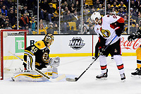 Tuesday, March 21, 2017: Boston Bruins goalie Tuukka Rask (40) watches the puck being played by Ottawa Senators right wing Bobby Ryan (9) during the National Hockey League game between the Ottawa Senators and the Boston Bruins held at TD Garden, in Boston, Mass. Eric Canha/CSM