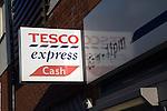 Tesco Express cash point sign