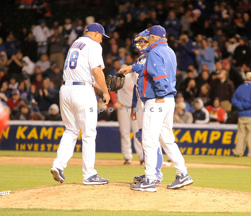 CARLOS ZAMBRANO, of the Chicago Cubs, in action during the Cubs game against the Washington Nationals at  Wrigley Field in Chicago, IL  on April 26, 2010...The Cubs  win 4-3.