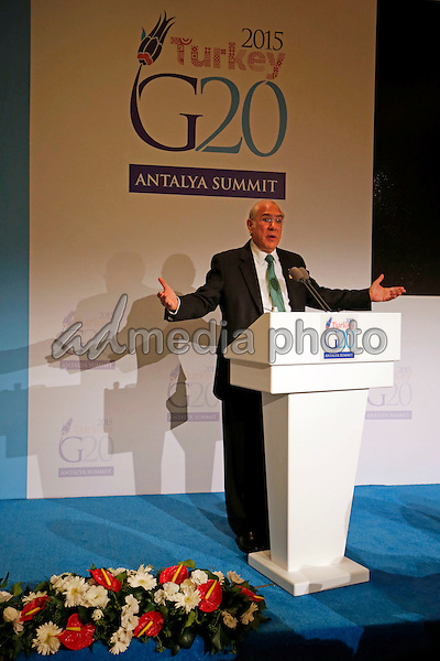OECD Secretary-General Angel Gurria gives on November 14, 2015 at G20 Summit Antalya a statement regarding last night's terrorist attacks in Paris. Photo Credit: Stocki/face to face/AdMedia