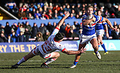 10th February 2019, Belle Vue, Wakefield, England; Betfred Super League rugby, Wakefield Trinity versus St Helens; Kyle Wood of Wakefield Trinity beats the attempted tackle from Lachlan Coote of St Helens