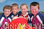 MULTICULTURAL: Iarla O'Mahoney, Oran Pierse, Niall Collins and John Leahy, 3rd class pupils of Scoil Realta na Maidne enjoying the KDYS/KADE Multicultural Day at the school on Tuesday.   Copyright Kerry's Eye 2008
