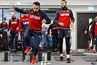 (L-R) Leon Britton and Kyle Bartley exercise in the gym during the Swansea City Training at The Fairwood Training Ground, near Swansea, Wales, UK. Friday 19 January 2018
