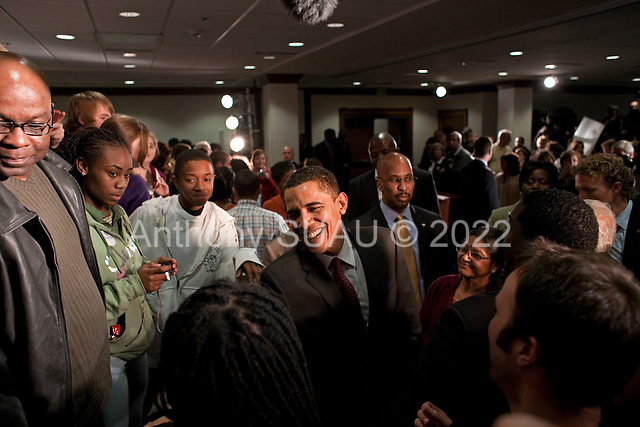 Lexington, South Carolina.January 22, 2008 ..Presidential hopeful Sen. Barack Obama (D-IL) greets supporters at a Town Hall meeting. Obama is campaigning through the state ahead of its Democratic primary on January 26..