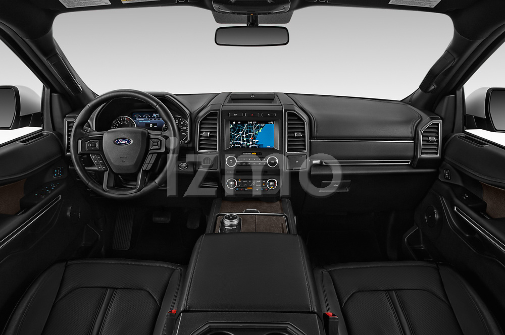 Stock photo of straight dashboard view of a 2018 Ford Expedition Limited 5 Door SUV