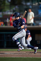 Lancaster JetHawks first baseman Tyler Nevin (16) follows through on his swing during a California League game against the Inland Empire 66ers at San Manuel Stadium on May 20, 2018 in San Bernardino, California. Inland Empire defeated Lancaster 12-2. (Zachary Lucy/Four Seam Images)