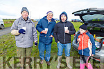 Jack, Tom, Tom and Nicole O'Flaherty enjoying a cuppa on a cold day at the Ballyduff Coursing on Sunday.