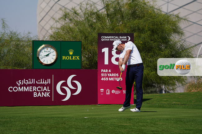Oliver Wilson (ENG) on the 18th during Round 1 of the Commercial Bank Qatar Masters 2020 at the Education City Golf Club, Doha, Qatar . 05/03/2020<br /> Picture: Golffile | Thos Caffrey<br /> <br /> <br /> All photo usage must carry mandatory copyright credit (© Golffile | Thos Caffrey)