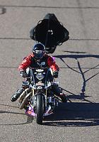 Feb 24, 2017; Chandler, AZ, USA; NHRA top fuel nitro Harley Davidson rider Tii Tharpe during qualifying for the Arizona Nationals at Wild Horse Pass Motorsports Park. Mandatory Credit: Mark J. Rebilas-USA TODAY Sports