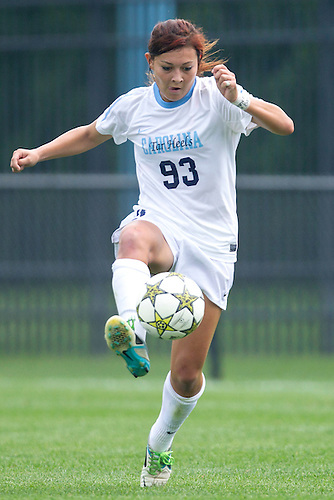 September 02, 2012:  North Carolina midfielder Brooke Elby (93) controls the ball during NCAA Soccer match between the Notre Dame Fighting Irish and the North Carolina Tar Heels at Alumni Stadium in South Bend, Indiana.  North Carolina defeated Notre Dame 1-0.