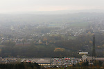 The Look Now Stadium Stocksbridge seen from across the valley. The town's retail park is in the foreground.  Stocksbridge Park Steels v Pickering Town, Evo-Stik East Division, 17th November 2018. Stocksbridge Park Steels were born from the works team of the local British Steel plant that dominates the town north of Sheffield.<br />