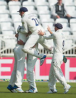 Picture by Allan McKenzie/SWpix.com - 11/09/2014 - Cricket - LV County Championship Div One - Nottinghamshire County Cricket Club v Yorkshire County Cricket Club - Trent Bridge, West Bridgford, England County Cricket Club - Yorkshire celebrate a wicket.