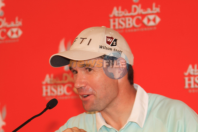 Padraig Harrington speaking after finishing round at 7 under par and leading the morning season on day one of the Abu Dhabi HSBC Golf Championship 2011, at the Abu Dhabi golf club 20/1/11..Picture Fran Caffrey/www.golffile.ie.