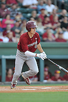 TJ Hopkins (5) of the South Carolina Gamecocks bats in a game against the Furman Paladins on Wednesday, April 20, 2016, at Fluor Field at the West End in Greenville, South Carolina. (Tom Priddy/Four Seam Images)