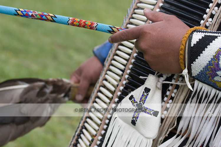 A Native American carries a traditional pouch at the Healing Horse Spirit PowWow in Mt. Airy, Maryland.
