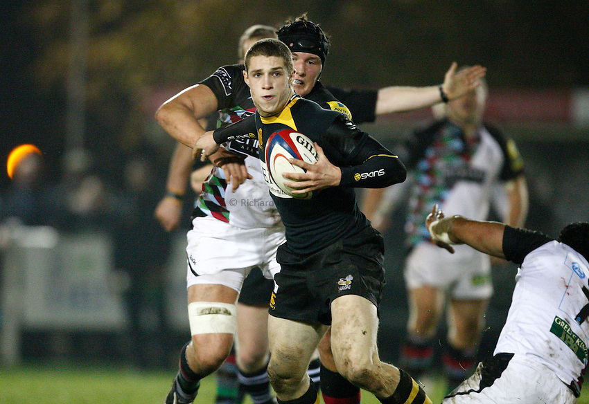 Photo: Richard Lane/Richard Lane Photography. London Wasps A v Harlequins A. Aviva A League. 01/11/2010. Wasps' Jonah Holmes attacks.