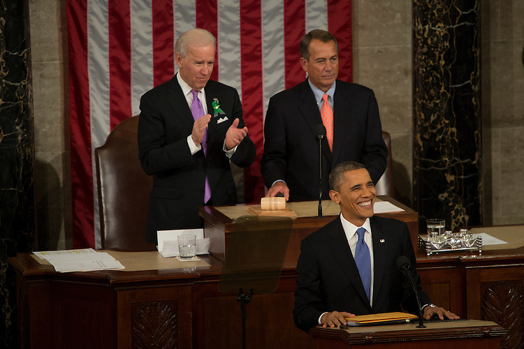 UNITED STATES -  Feb 12: President Barack Obama in the House Chamber during his State of the Union Address before a joint session of Congress in the U.S. Capitol.  (Photo By Bill Clark/CQ Roll Call)