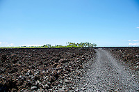 The road to Keawaiki Bay, north of Kona, Big Island of Hawai'i; this area was covered by a 1859 eruption from Mauna Loa and was the site of a heiau (Hawaiian temple) and ancient Hawaiian settlement.