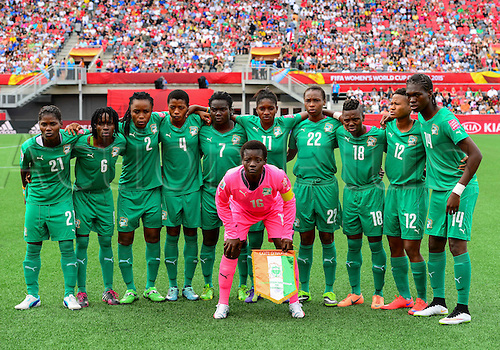 07.06.2015. Lansdowne Park, Ottawa, Canada. Team Ivory Coast  pose for a team photo before the FIFA 2015 Women's World Cup Group B match between Germany and Ivory Coast at Lansdowne Park in Ottawa, Canada.