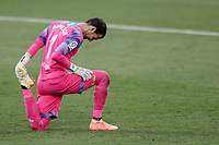 12th July 2020; Estadio Municipal de Butarque, Madrid, Spain; La Liga Football, Club Deportivo Leganes versus Valencia; Goalkeeper Jaume Domenech (Valencia CF) stretches out a tight muscle
