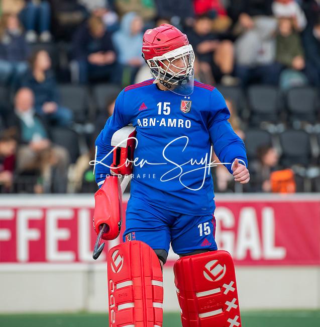 AMSTELVEEN -  keeper Philip van Leeuwen (Adam)   tijdens de competitie hoofdklasse hockeywedstrijd mannen, Amsterdam- Den Bosch (2-3).  COPYRIGHT KOEN SUYK