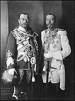 BNPS.co.uk (01202 558833)Pic: IanShapiro/BNPS<br /> <br /> Nicholas II and George V at their last meeting, Berlin 1913. <br /> <br /> A Russian Grand Duke branded King George V a 'scoundrel' who 'did not lift a finger' to save the Romanov family in the revolution there of 1917, explosive diaries have revealed.<br /> <br /> The cousin of the overthrown Russian Royal family blamed the British King for their executions because he failed to grant them refuge.<br />  <br /> Dmitri Pavlovich no-holds-barred diary extracts have been published for the first time in a new book by respected historian Coryne Hall, To Free The Romanovs.