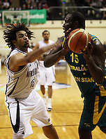 Tall Blacks forward BJ Anthony tries to block Nathan Jawai during the International basketball match between the NZ Tall Blacks and Australian Boomers at TSB Bank Arena, Wellington, New Zealand on 25 August 2009. Photo: Dave Lintott / lintottphoto.co.nz