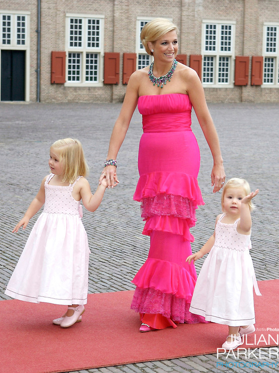 Crown Princess Maxima of Holland arrive with Daughters, Princess Catharina Amalia, and Princess Alexia, for a Reception at Het Loo Palace in Apeldoorn, to celebrate the 40th Birthday of Crown Prince Willem Alexander, The Prince turned forty in April earlier this year.
