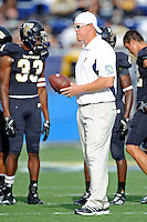 24 September 2011:  FIU Assistant Coach Ryan Horton puts players through drills prior to the game.  The University of Louisiana-Lafayette Ragin Cajuns defeated the FIU Golden Panthers, 36-31, at FIU Stadium in Miami, Florida.