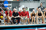 INDIANAPOLIS, IN - MAY 14: Stanford University coaches (from left) Susan Ortwein, John Tanner and Kyle Utsumi look on during the Division I Women's Water Polo Championship against UCLA held at the IU Natatorium-IUPUI Campus on May 14, 2017 in Indianapolis, Indiana. (Photo by Joe Robbins/NCAA Photos/NCAA Photos via Getty Images)