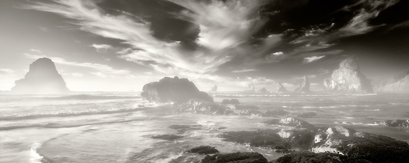 Coast with interesting clouds near sunset. Samuel H. Boardman State Scenic Corridor. Oregon