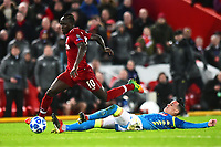 Liverpool's Sadio Mane goes past a challenge from Napoli's Jose Callejon<br /> <br /> Photographer Richard Martin-Roberts/CameraSport<br /> <br /> UEFA Champions League Group C - Liverpool v Napoli - Tuesday 11th December 2018 - Anfield - Liverpool<br />  <br /> World Copyright © 2018 CameraSport. All rights reserved. 43 Linden Ave. Countesthorpe. Leicester. England. LE8 5PG - Tel: +44 (0) 116 277 4147 - admin@camerasport.com - www.camerasport.com