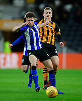 Hull City's Jarrod Bowen vies for possession with Sheffield Wednesday's Sam Hutchinson<br /> <br /> Photographer Chris Vaughan/CameraSport<br /> <br /> The EFL Sky Bet Championship - Hull City v Sheffield Wednesday - Saturday 12th January 2019 - KCOM Stadium - Hull<br /> <br /> World Copyright © 2019 CameraSport. All rights reserved. 43 Linden Ave. Countesthorpe. Leicester. England. LE8 5PG - Tel: +44 (0) 116 277 4147 - admin@camerasport.com - www.camerasport.com