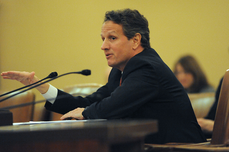 Washington, D.C.-Timothy F. Geithner, secretary of the Treasury, testifies before the House Ways and Means Committee about President Obama's proposed fiscal 2011 budget on Feb. 2, 2009. (Amanda Lucidon/For The New York Times)