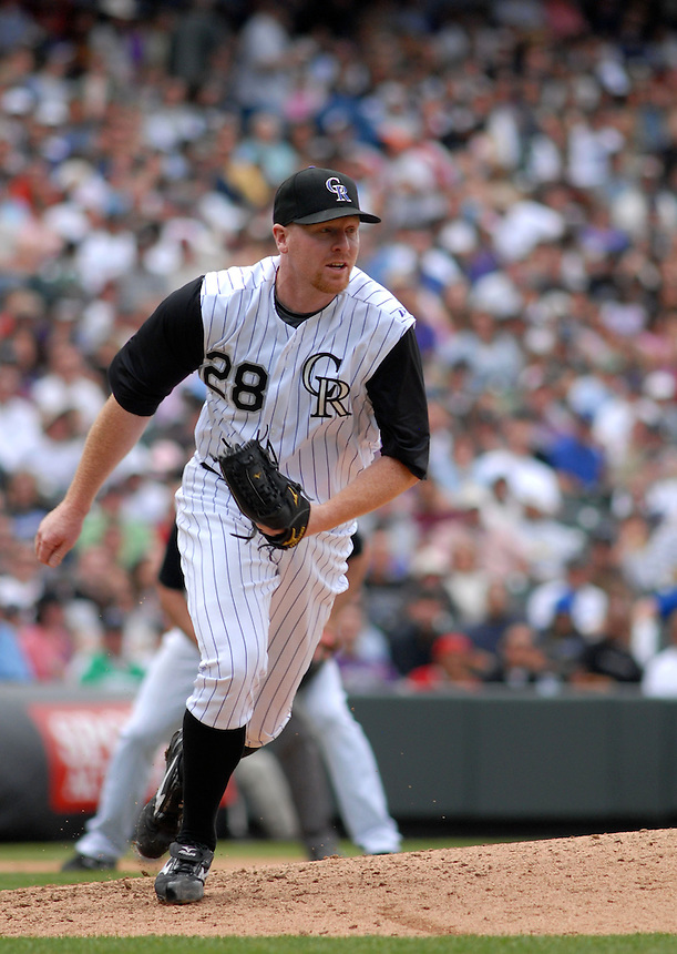 Colorado Rockies starting pitcher Aaron Cook during a game against the Los Angeles Dodgers at Coors Field in Denver, CO on May 4, 2008.